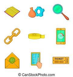 Chart icons set, cartoon style