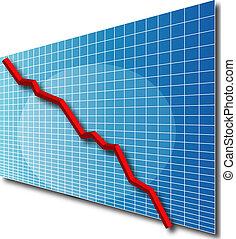 3d line chart going down
