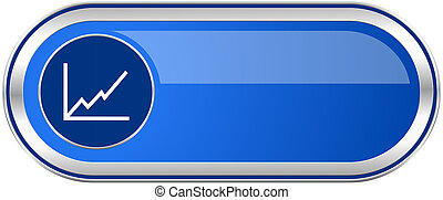 Chart long blue web and mobile apps banner isolated on white background.