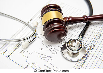chart., monde médical, stéthoscope, juge, conflit, marteau, bois, concept.