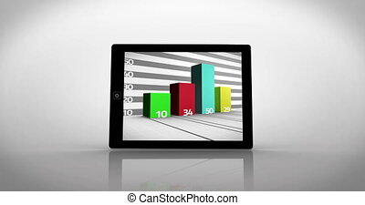 Chart montage displayed on tablet screen on white background