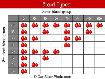 Chart of blood types in drops. Medical and healthcare infographic