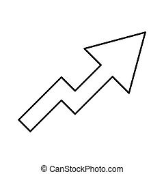 Chart of growth black color icon .