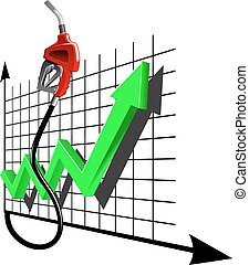 Chart of growth fuel prices with gas pump nozzle