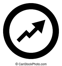 Chart of growth icon black color in circle