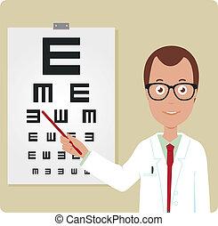 chart., oftalmolog, vektor, ögon, illustration