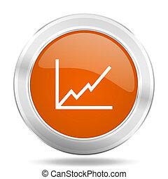 chart orange icon, metallic design internet button, web and mobile app illustration