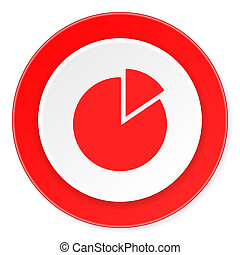 chart red circle 3d modern design flat icon on white background