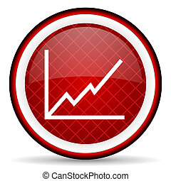 chart red glossy icon on white background