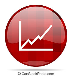 chart red round circle glossy modern design web icon