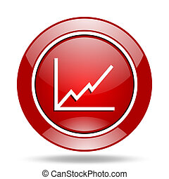 chart red web glossy round icon