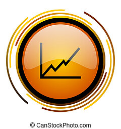 chart round design orange glossy web icon