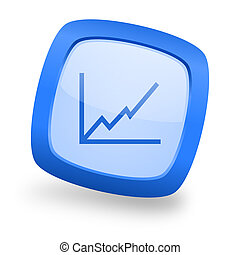 chart square glossy blue web design icon