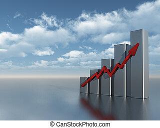 chart - business graph under cloudy blue sky - 3d...