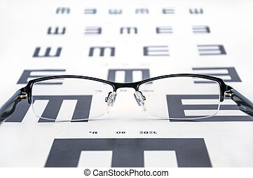 chart., test, brillen, beschouw uitzicht