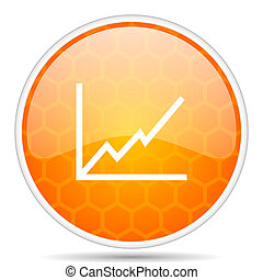 Chart web icon. Round orange glossy internet button for webdesign.