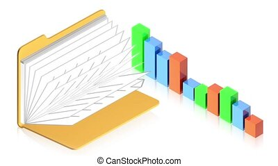 Chart with folder - 3D animation of a simple objects for use...