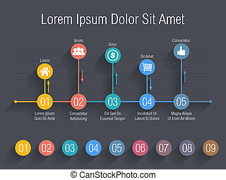 Chart with numbers and icons, vector eps10 illustration