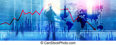 Chart with red down arrow on abstract background. Falling growth in business