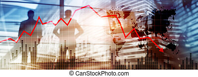 Chart with red down arrow on abstract background. Falling growth in busines