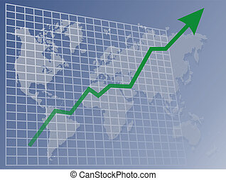 Chart World up - Chart with upwards arrow over a map of the...
