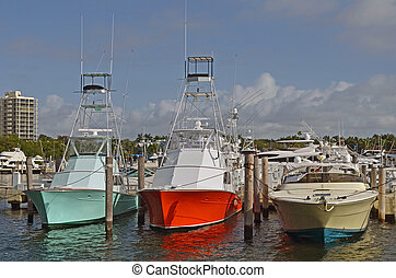 Charter fishing boats moored at a marina in Coconut Grove, Florida