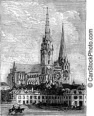 Chartres Cathedral, in Chartres, France, during the 1890s, vintage engraving