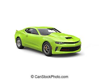 Chartreuse modern muscle car - studio shot