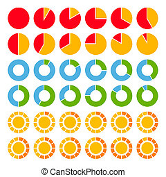 charts., 明るく, セット, 有色人種, パイ