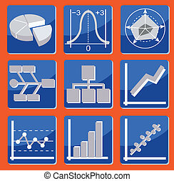 charts and graphs - icons with different types of charts and...