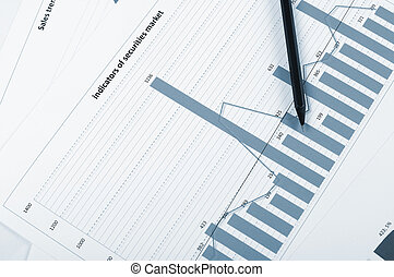 Charts and graphs of sales