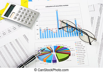 Charts and graphs of sales - a symbol of successful ...