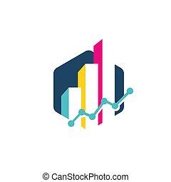 charts and graphs vector logo design. economic business chart sign symbol illustration