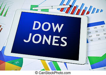 charts and tablet computer with the text Dow Jones