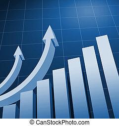 Charts and upward directed arrows