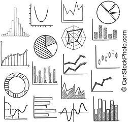 Charts, bars and graphs icons sketches