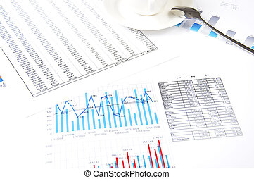 charts, documents, business stilllife - Drawings and charts ...