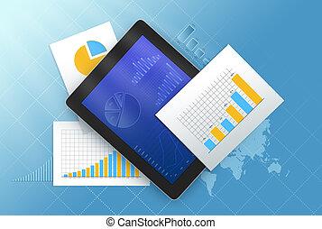 charts., entouré, feuilles, tablette