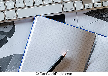 Charts graphs diagram - financial background. Review analysis data control. Planner and Agenda Concept.