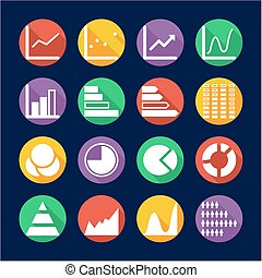 Charts Icons Flat Design Circle - This image is a...