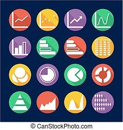 Charts Icons Flat Design Circle
