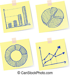 Illustration of charts sketches on yellow paper notes