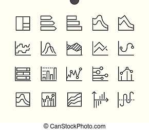 Charts UI Pixel Perfect Well-crafted Vector Thin Line Icons 48x48 Grid for Web Graphics and Apps. Simple Minimal Pictogram Part 3-4
