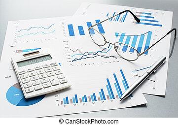 charts., wykresy, przegląd, handlowy, reports.
