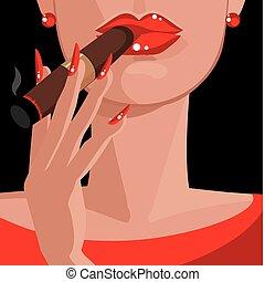 charuto, vermelho, fumar, mulher, excitado