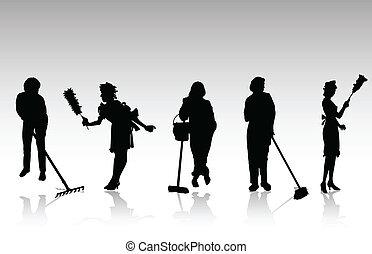 charwoman, silhouetten, vektor, schwarz