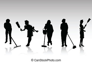 charwoman, silhouettes, vecteur, noir
