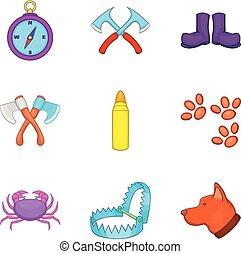 Chase icons set, cartoon style