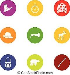 Chase icons set, flat style