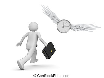 Chase the time (3d isolated characters, businessmen,...